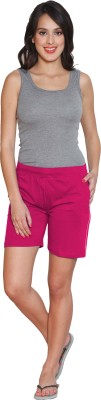 Sweet Dreams Solid Women's Pink Sports Shorts