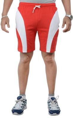 TeesTadka Solid Men's Red, White Sports Shorts