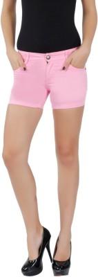 F Fashion Stylus Solid Women's Denim Pink Denim Shorts