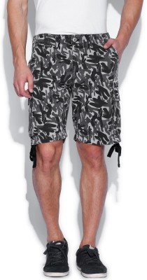 Kook N Keech Printed Men's Grey Cargo Shorts