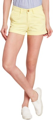 American Swan Solid Women's Yellow Basic Shorts