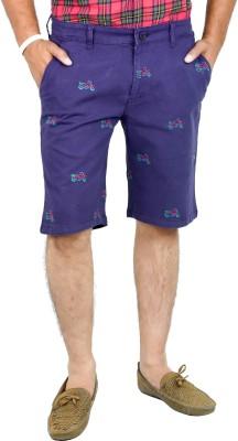 Indigen Embroidered Men's Dark Blue Chino Shorts