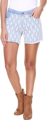 Alibi By Inmark Self Design Women's Blue Denim Shorts
