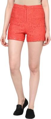 Femella Floral Print Women's Orange Basic Shorts