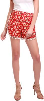 Sassafras Floral Print Women's Red Basic Shorts