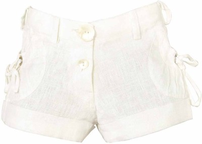 Lil Poppets Solid Girl's Linen White Basic Shorts