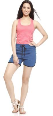 Gritstones Solid Women's Black, Blue Basic Shorts
