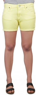 Klorophyl Woven Womens Yellow Basic Shorts