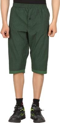 Sixer Knitting Checkered Men,s Dark Green Basic Shorts