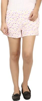 Modimania Floral Print Women's White, Yellow Basic Shorts