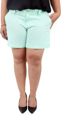 LastInch Solid Women's Light Green Basic Shorts