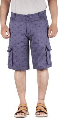 FBM Self Design Men's Blue Cargo Shorts