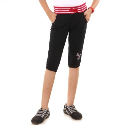 Menthol Embroidered Girl's Black Board Shorts