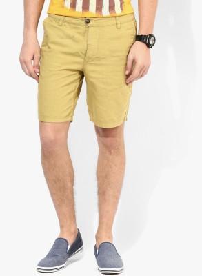 Jack & Jones Solid Men's Beige Denim Shorts