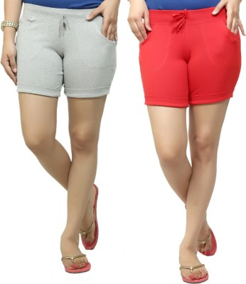 By The Way Solid Women's Grey, Red Basic Shorts, Beach Shorts, Cycling Shorts, Night Shorts
