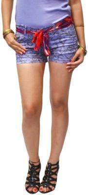 S9 Women Floral Print Women's Purple, Brown Denim Shorts