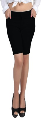 Jiya Solid Women,s Black Denim Shorts
