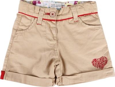 Yazhi Solid Girl's Beige Basic Shorts