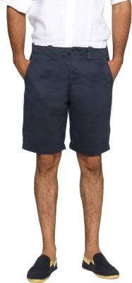 Happy Hippie Solid Men's Dark Blue Basic Shorts
