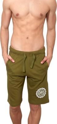 Smugglerzinc Solid Men's Dark Green Sports Shorts