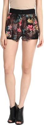 Athena Printed Women's Black Basic Shorts at flipkart