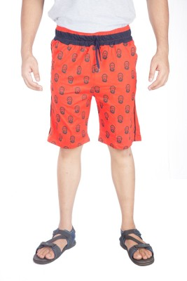 A Flash Graphic Print Men's Red Sports Shorts