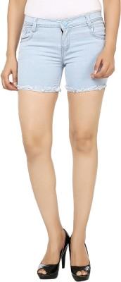 Ico Blue Star Solid Women's Light Blue Denim Shorts