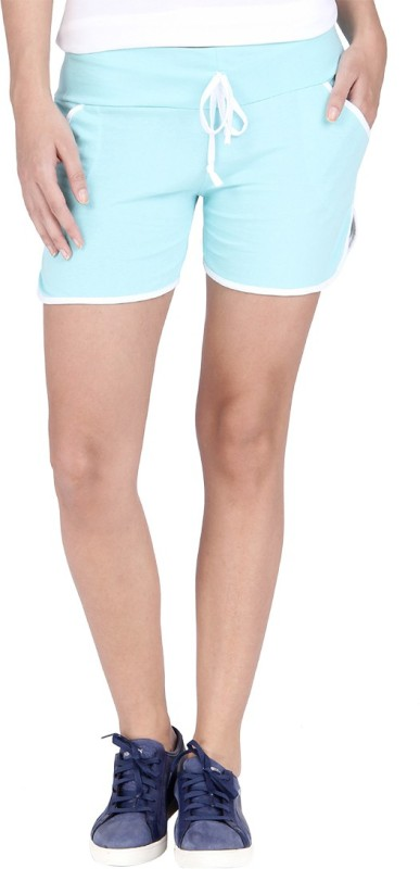 Campus Sutra Solid Women's Light Green Basic Shorts