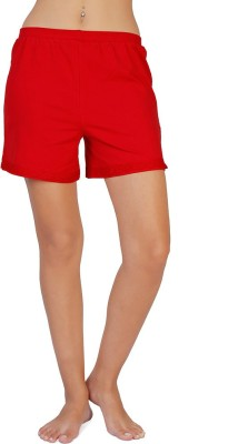 Coucou by Zivame Solid Women's Reversible Red Boxer Shorts