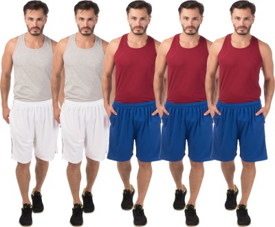 Meebaw Self Design Men,s White, White, Blue, Blue, Blue Sports Shorts