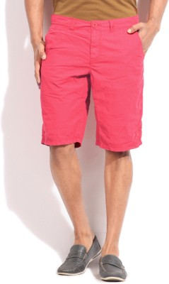 Breakbounce Solid Mens Red Basic Shorts