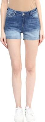 Xpose Solid Women's Blue Denim Shorts at flipkart