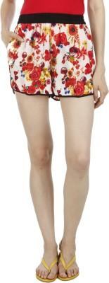 Wineberry Printed Women's White Hotpants