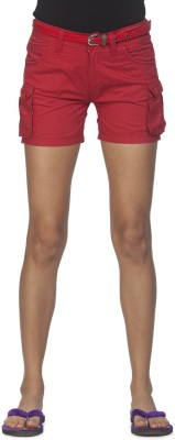 Ixia Solid Women's Red Cargo Shorts