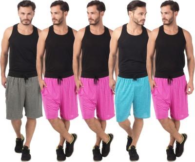 Meebaw Self Design Men,s Grey, Pink, Pink, Pink, Blue Sports Shorts
