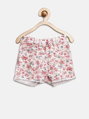 Yk Printed Baby Girl's White, Pink Basic Shorts