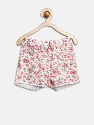Yk Printed Baby Girl's White, Pink Basic Shorts