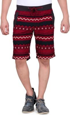 King & I Printed Men's Maroon Chino Shorts