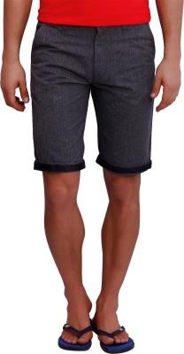 Blue77 Solid Men's Grey Basic Shorts