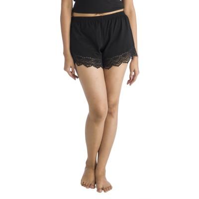 Nite Flite Solid Women's Black Night Shorts