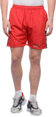 American-Elm Self Design Men's Red Sports Shorts