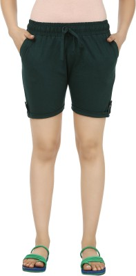 TeeMoods Solid Womens Green Basic Shorts