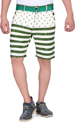 King & I Printed Men's Green Chino Shorts