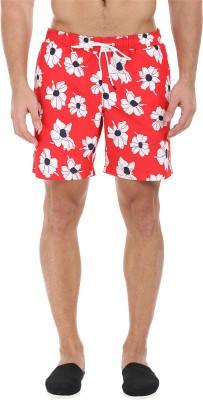 Zobello Self Design Mens Red Swim Shorts