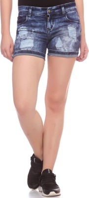 Fasnoya Self Design Women,s Denim Dark Blue Denim Shorts