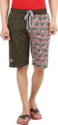 Sixer Knitting Printed Men,s Dark Green Basic Shorts