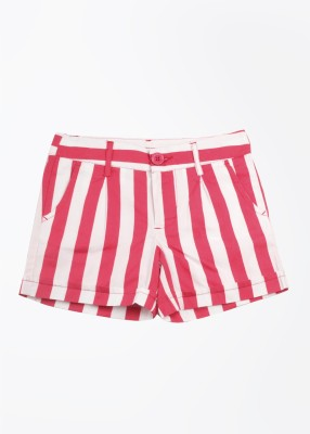 United Colors of Benetton Striped Girl's White, Pink Basic Shorts