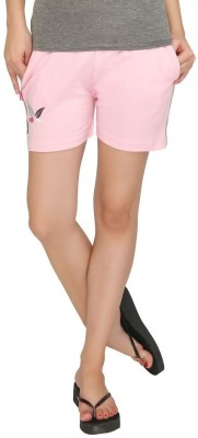 Red Ring Solid Women's Pink Night Shorts