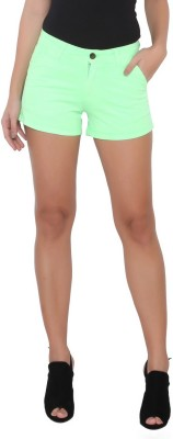 Again? Vintage Solid Women's Green Chino Shorts