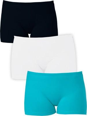 Softrose Solid Women's Black, White, Light Green Sports Shorts
